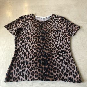 Neiman Marcus animal print cashmere sweater.